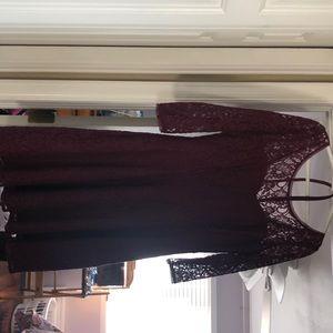 WHBM maroon lace dress